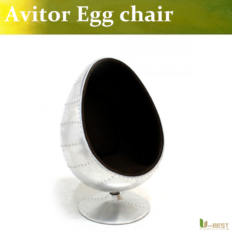 U-BEST Aviator Egg Chair in Leather and Panelled Aluminium,fiberglass arm chair Commercial Furniture