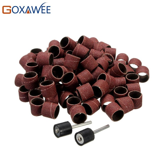 100pcs 1/2 Sanding Bands Kit +5pcs Sanding Drum Mandrel for Dremel Rotary Tool Abrasive Sanding Paper Polishing Woodworking Disc