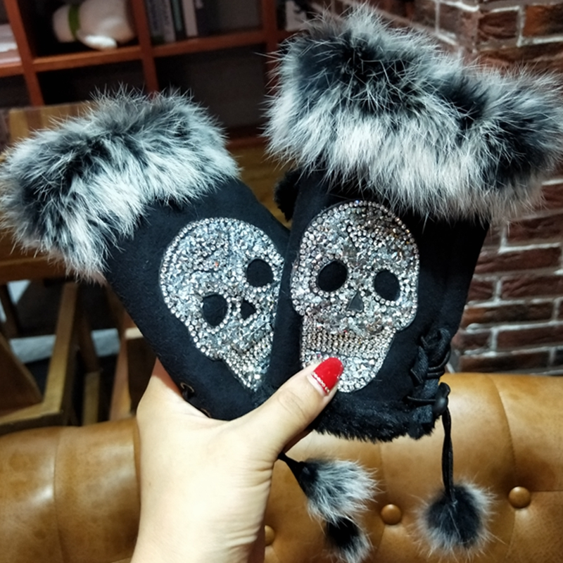 Magic Fashion Winter Gloves Women Skull Silvery Sequins Rabbit Fur Gloves Suede Half Finger Mittens Female Christmas Gifts