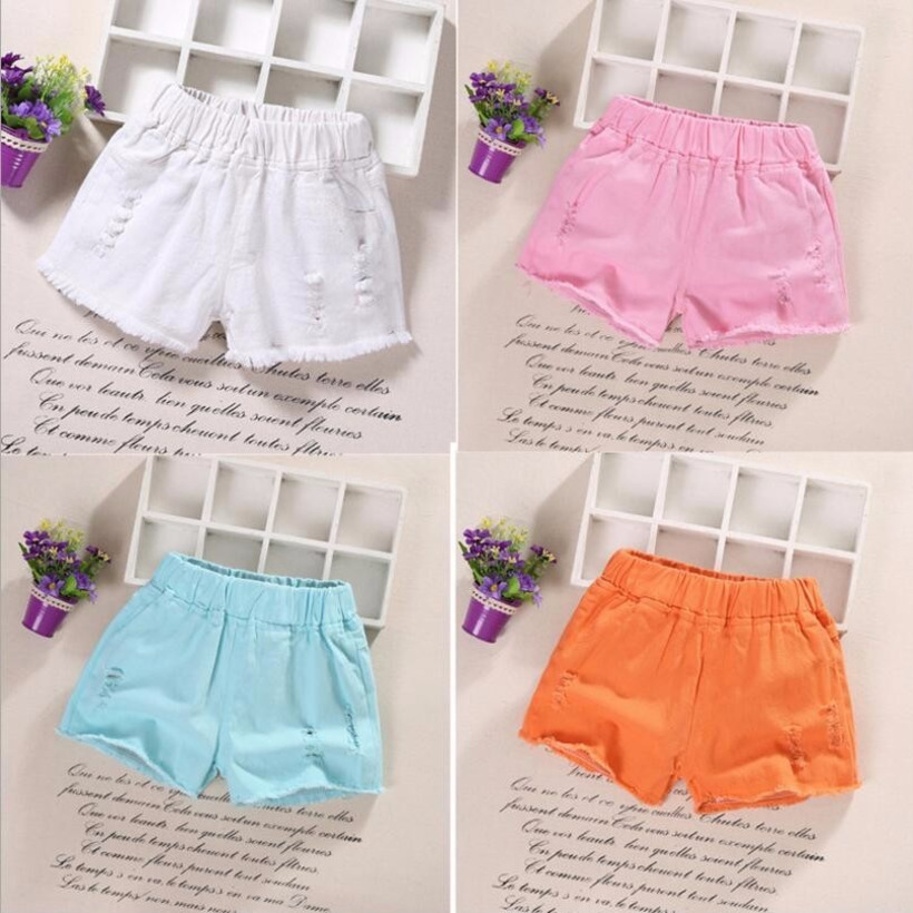 2019 Summer Kids Short Denim Shorts For Girls Fashion Girl Short Princess Jeans Children Pants Girls Shorts Flower Girls Clothes