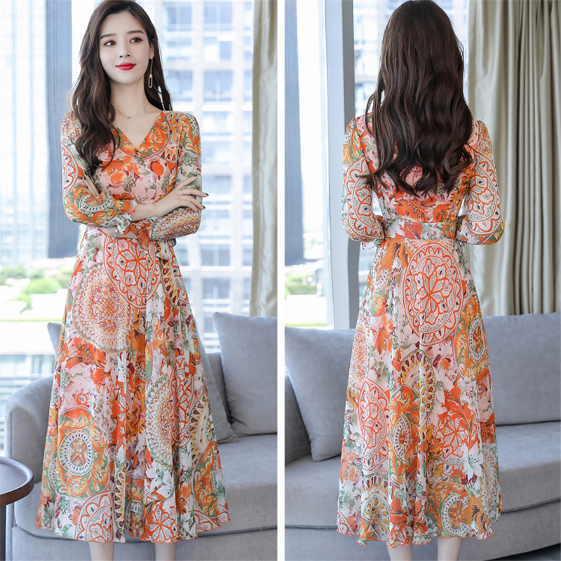 Robe Cou gray Taille Femmes Mince Longues coréen Ld521 2018 Nouvelle Feminino Robes Plus Automne Office Lady V orange Broderie À Blue Floral Manches nOk08Pw