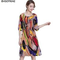 High Quality Emulation Silk Dress Women 2018 Spring Summer Dress Half Print Party Dresses Female Big Yards Casual Vestidos A0335