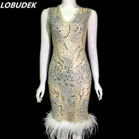 Sexy See through Rhinestones Dress White Feathers Crystals Sleeveless Dress Evening Pary Singer Nightclub Perspective Costume