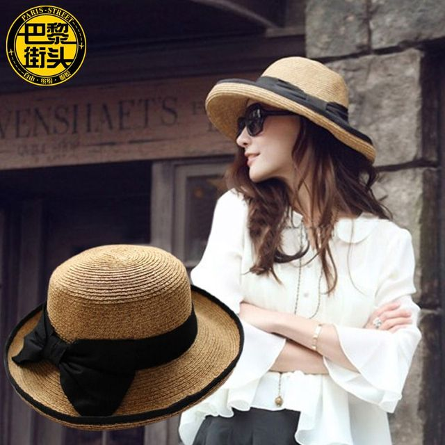 Summer Women Straw Beach Hats Female Wide Brim Curved Up Sun Caps Free Shipping SDDS-006