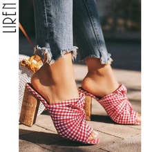 Liren Red Plaid High Heels Sandals Slippers Summer Block Heeled Flip Flop Slip on Fashion Sexy Slippers Pumps Red Shoes Pumps цена 2017