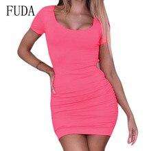 FUDA Sexy U-neck Chest Slim Fit Hip Front Pleated Dress Behide Cross Bandage Short Sleeve Bodycon Mini Women Summer Wear