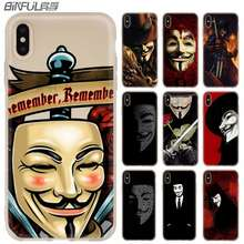 V for vendetta fan art Case para iphone 11 Pro Max XR XS X Tampa Do Telefone Cases para iphone 7 10 8 plus 6s 5 4S(China)