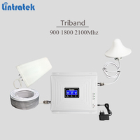 2018 new tri band cellular signal booster 900 1800 2100 GSM UMTS LTE signal repeater 3g 4g lte cellphone amplifier with full kit