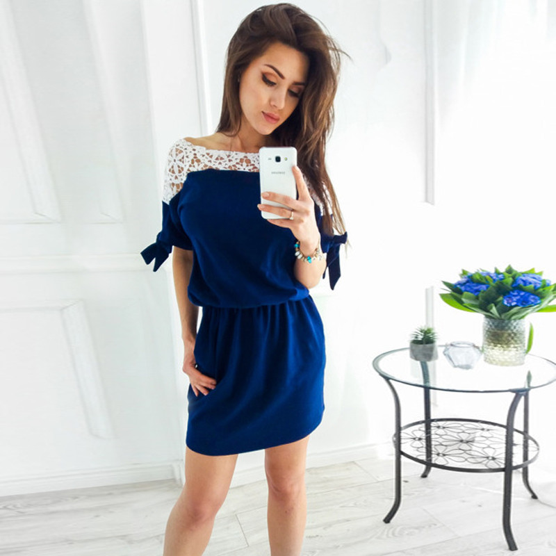 Womens Dresses New Arrival 2018 Casual Lace Splicing Mini Short Tshirt Dress Elegant Vintage Party Dresses Vestido Plus Size
