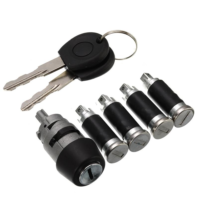 7Pcs/Set 1 Ignition Switch 4 Door Lock Barrel With 2 Keys For VW T4 Caravelle MK IV 1990-2003 Transporter Double Barn Hardware