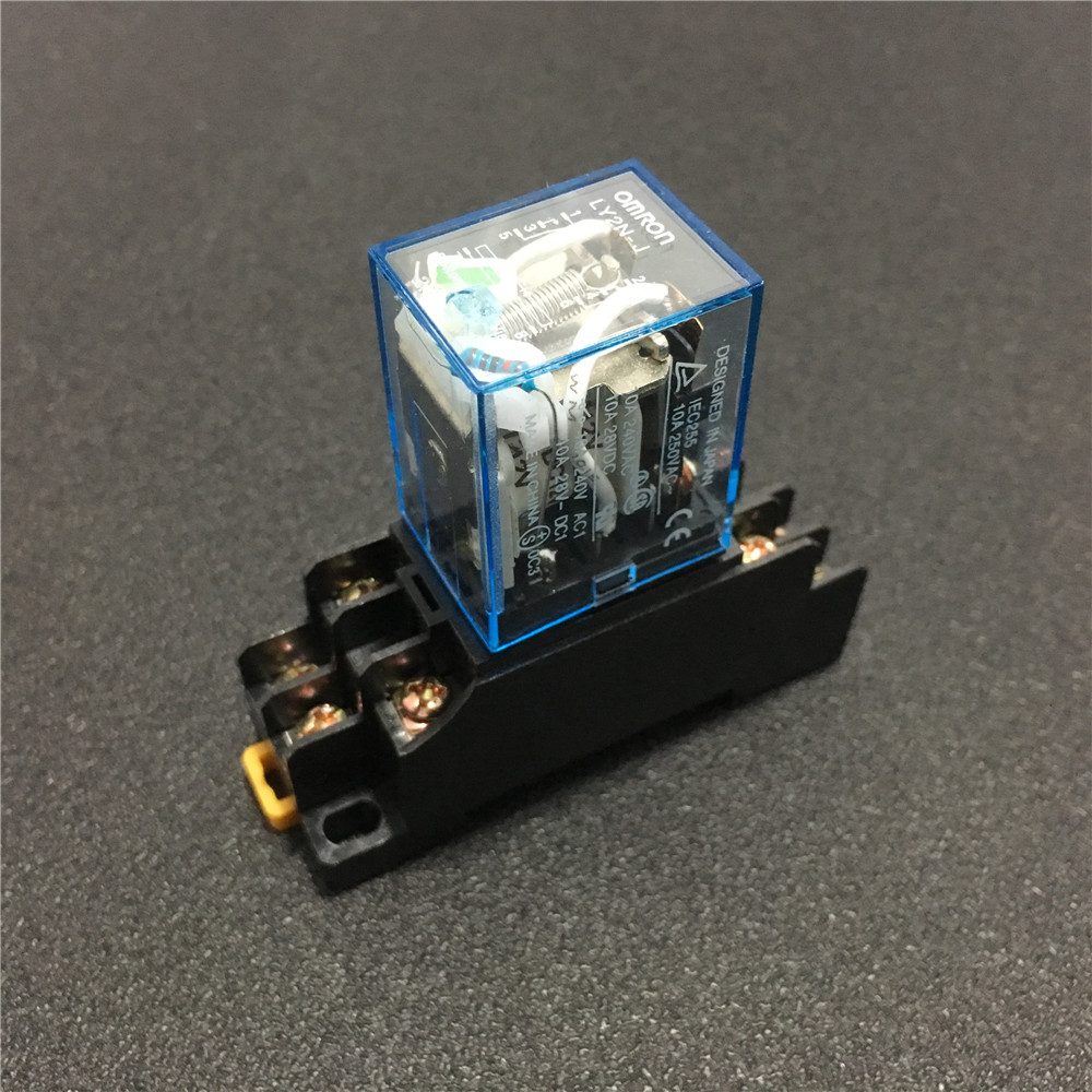 LY2NJ Miniature Relay DPDT 8 Pins 10A HH62P JQX-13F With PTF08A Socket