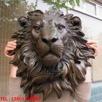 Старая бронза курьеза Медь голова льва аксессуары для дома качество сад статуя украшение дома свадьба животных латунь голову реального Чис