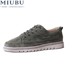 MIUBU Adult New Fashion Style Men Casual Shoes Lace Up Breathable Comfortable Wear Resistant Flats Round Head Males