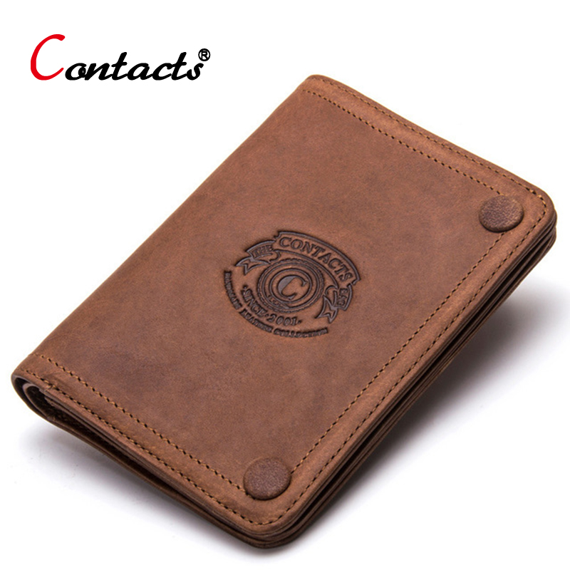 CONTACT'S Men Wallet Credit Card Holder Coin Purse Crazy Horse Cow Genuine Leather Wallet Male Purse Small Slim Money Bag Perse contact s long genuine leather men wallets male purse coin id credit card holder phone man clutch bags money small perse black