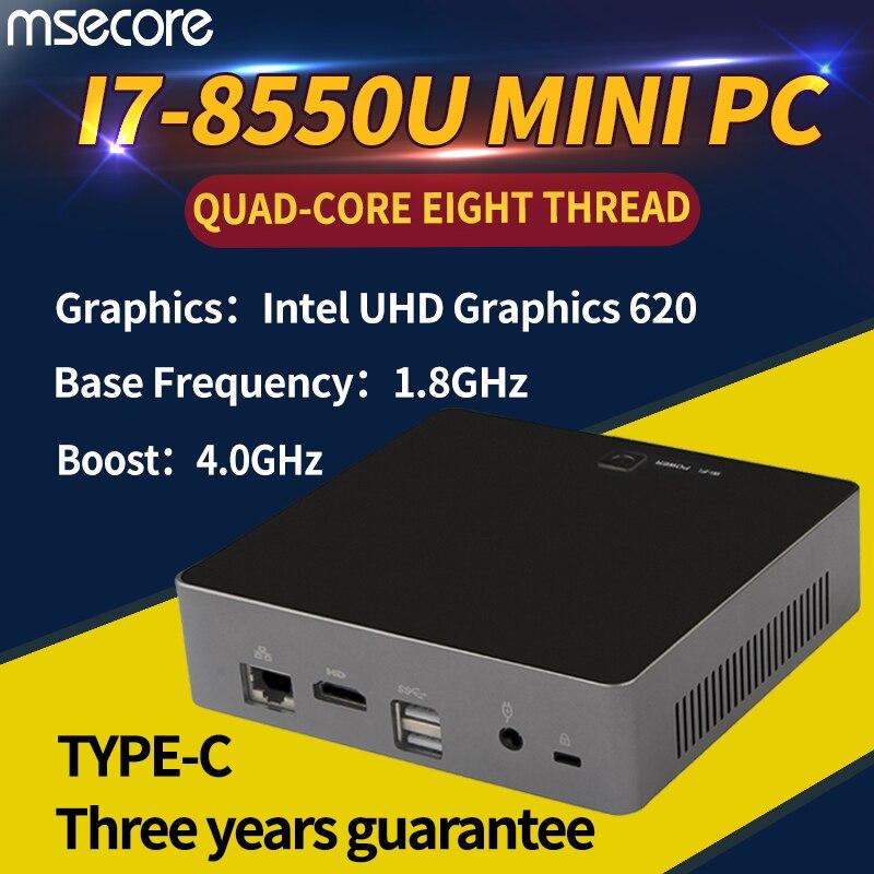 MSECORE 8TH Gen Quad-core I7 8550U Gaming Mini PC Windows 10 Ordinateur De Bureau barebone Nettop linux intel UHD620 wifi bluetooth