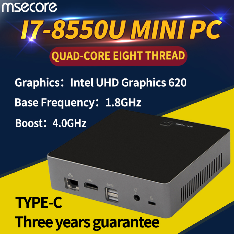 MSECORE 8TH Gen Quad-core I7 8550U Gaming Mini PC Finestre 10 Desktop Del Computer barebone Nettop linux intel UHD620 wifi bluetooth