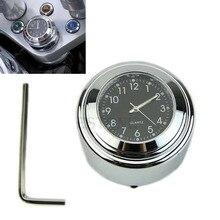 1PC 7/8 1 Motorcycle Handlebar Chrome Black Dial Clock