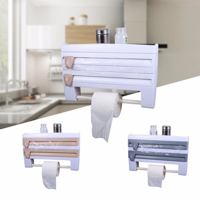 Paper Towel Holder Wall Mounted Kitchen Roll Holder Cling Film Rack