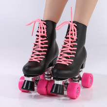 Double row roller skate leather black high boot pink wheel four wheel skate Aluminum alloy bottom plate tripod ,free shipping