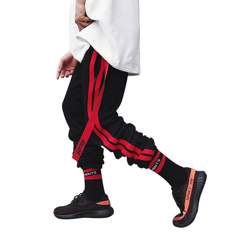 uu 2018 Jogger Hip Stripe Hop Moda Cinta Sweatpants Bordado Pantalones Tamaño Lateral Cordón Streetwear Ee Cintura Casual qxwTq7taI