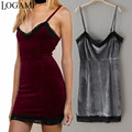 Lace V Neck Velvet Dresses for Women Sexy Party Dresses 2016 Mini Dress Wine Red Grey Vestidos De Festa