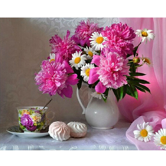 New vase pink flowers 5d diy diamond painting cross stitch steamed new vase pink flowers 5d diy diamond painting cross stitch steamed bread diamond embroidery full drill mightylinksfo