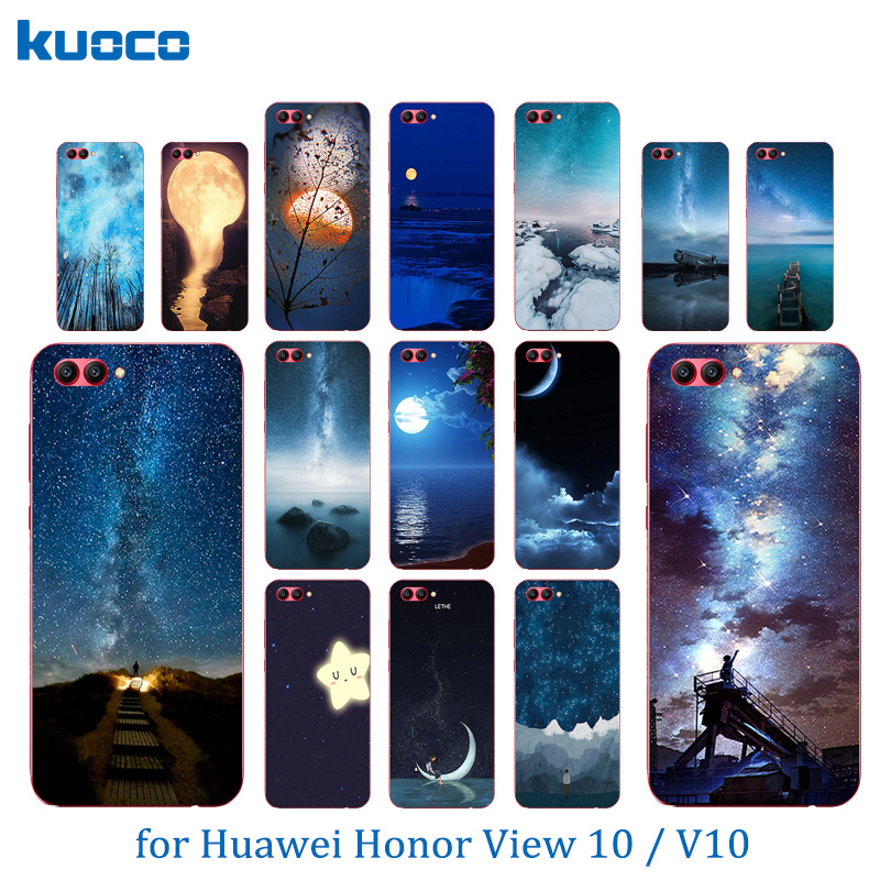 Slim Cases for Huawei Honor V10 Night Sky Pattern 5.99 inch for Huawei View 10 Transparent Silicone TPU Soft Back Cover for V10
