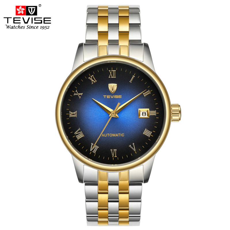 Tevise Luxury Automatic Men Mechanical Watch Stainless Steel Man Business Auto Date Wristwatches Male Hollow Back Montres NT80 full automatic mechanical watch with hollow out back cover for men tevise 8377003
