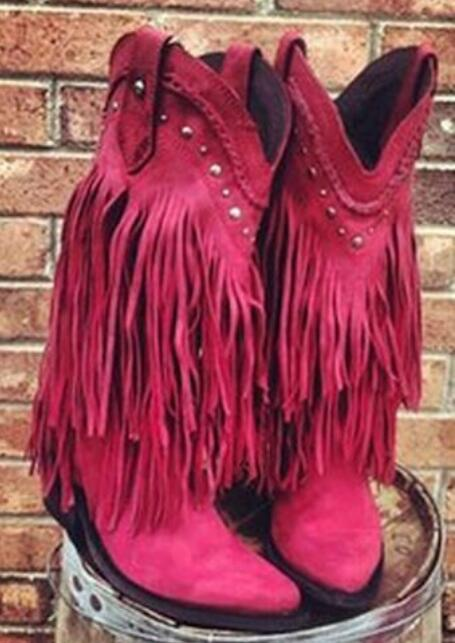 2016 Winter Fashion Suede Leather Gladiator Middle Calf Boots Riding Boots Square Heel Tassel Knight Boots Women Casual Shoes hot selling chic stylish black grey suede leather patchwork boots mid calf spike heels middle fringe boots side tassel boots