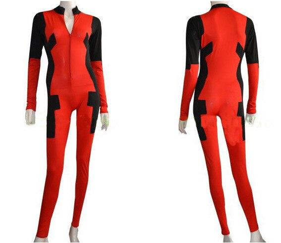Červený a černý přední zip Deadpool Spandex Zentai oblek bez - Kostýmy