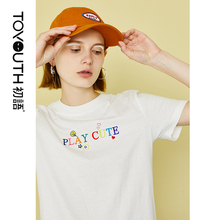 Toyouth Women Short Sleeve T Shirt 2019 Summer New Streetwear Fashion O Neck Letter Printed Clothing T-shirt Female Tops
