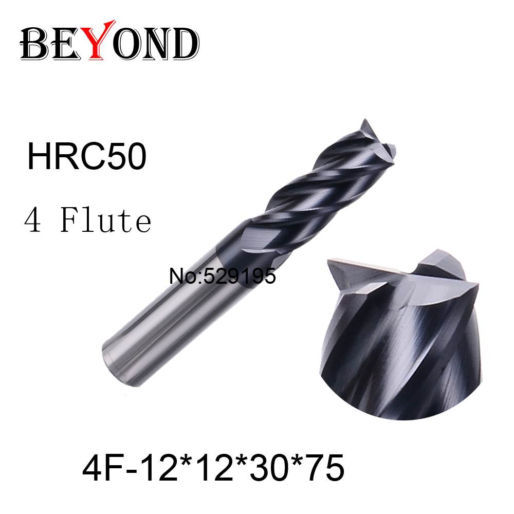 4f-12*12*30*75,hrc50,carbide End Mills,carbide Square Flatted End Mill,4 Flute,coating:nano,factory Outlet Length