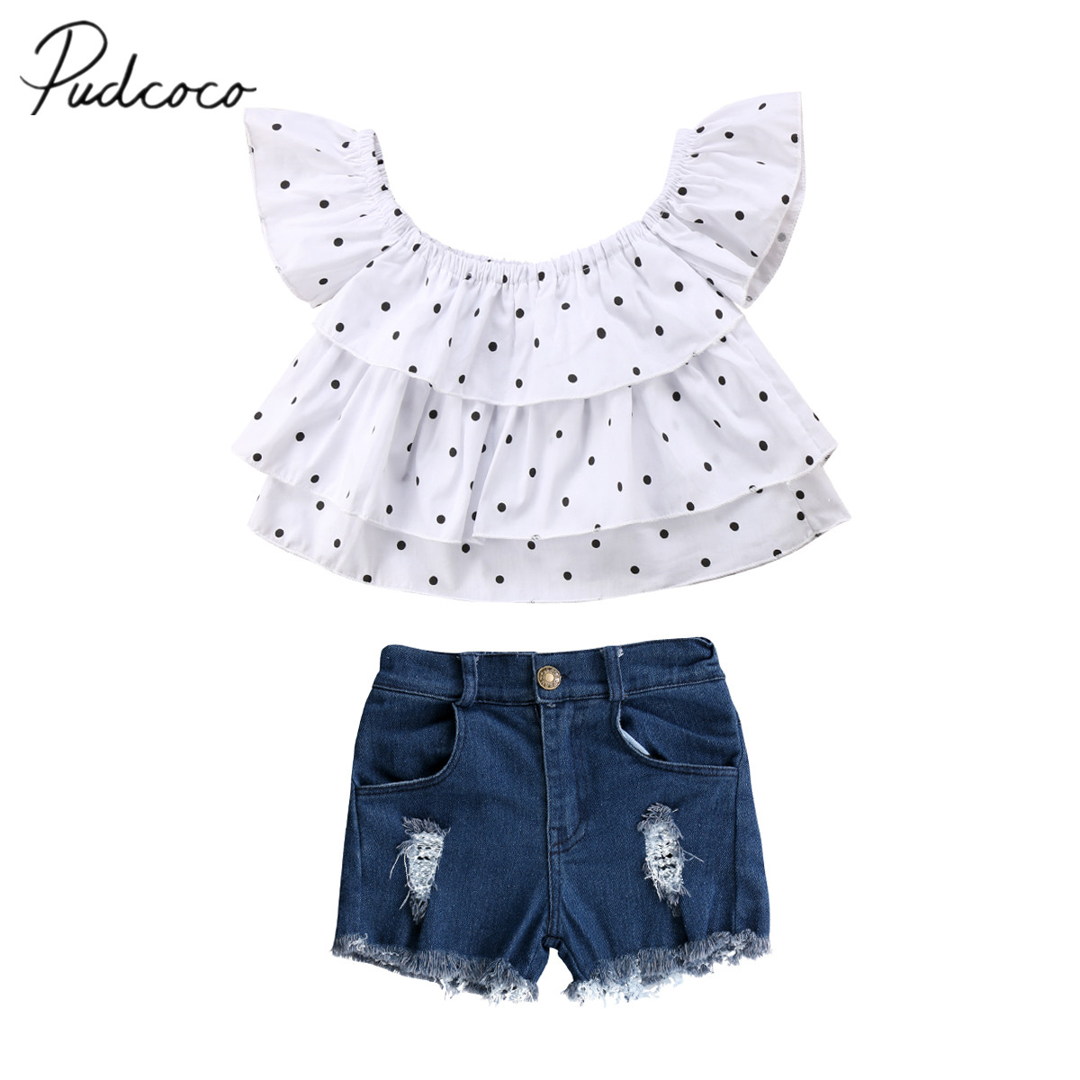2018 Brand New Toddler Infant Child Kids Baby Girls Clothes T Shirt Tee Ruffled Tops Shorts Denim Pants 2Pcs Outfits Set 1-7T 1 7y toddler kids clothes 2017 fashion children girls leopard hooded vest t shirt tops hole jean denim shorts 2pcs clothing set