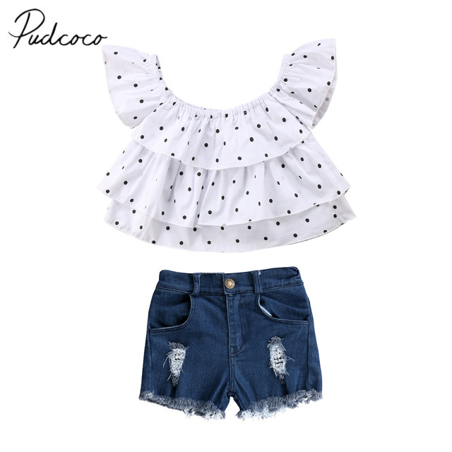 df63aca31 2018 Brand New Toddler Infant Child Kids Baby Girls Clothes T Shirt Tee  Ruffled Tops Shorts Denim Pants 2Pcs Outfits Set 1-7T