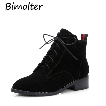 Bimolter Cow Suede Women Shoes Leather Inside Ankle Boots Female Genuine Leather Footwear Ankle Boots Russian Size 34-39 NC029