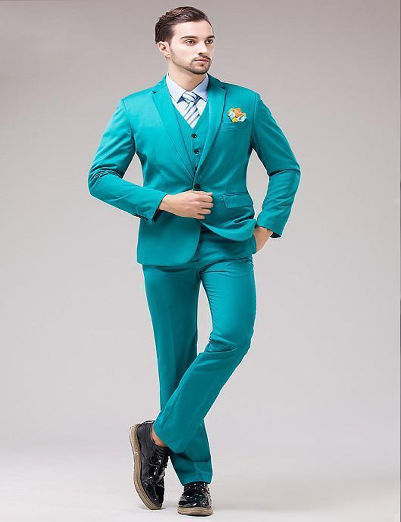Sunshine Energetic Back Vent Turquoise Groom Tuxedos Notched Lapel ...
