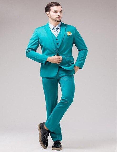 Sunshine Energetic Back Vent Turquoise Groom Tuxedos Notched Lapel ...