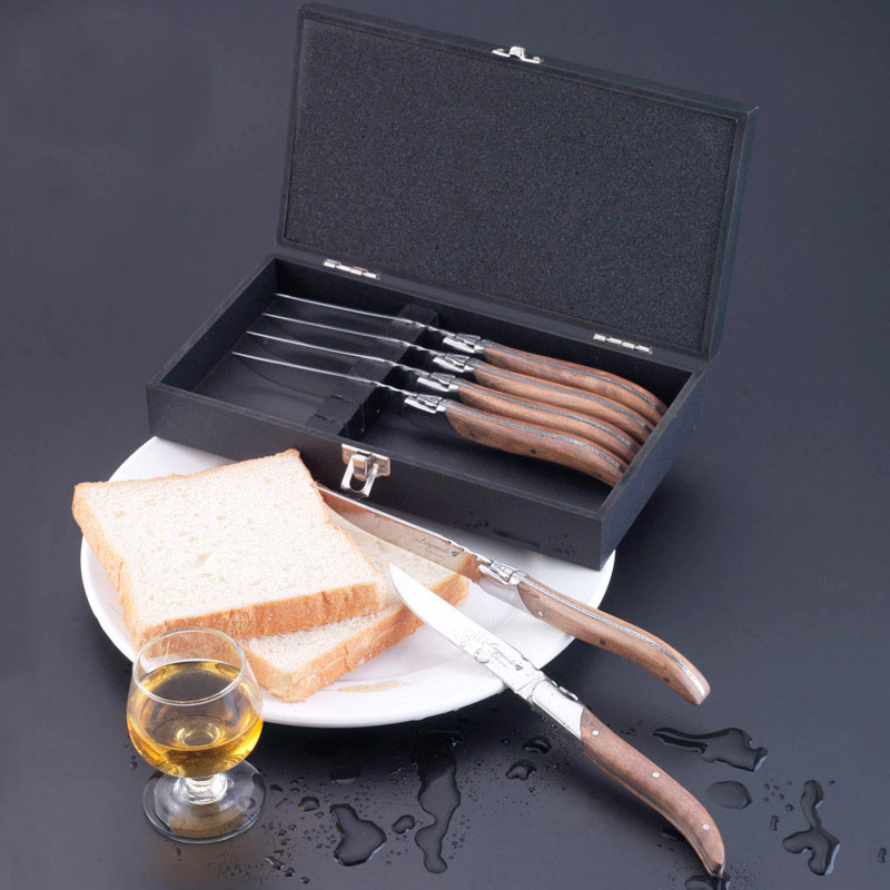 6pcs 8.7'' Stainless Steel Steak Knife Fork Olive wood Handle Laguiole style Dinnerware Flatware set in Wood Box