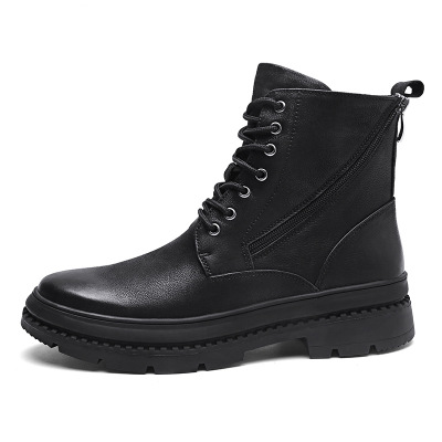 2018 autumn and winter new men's  boots leather tube British trend casual boots leather tooling men's shoes
