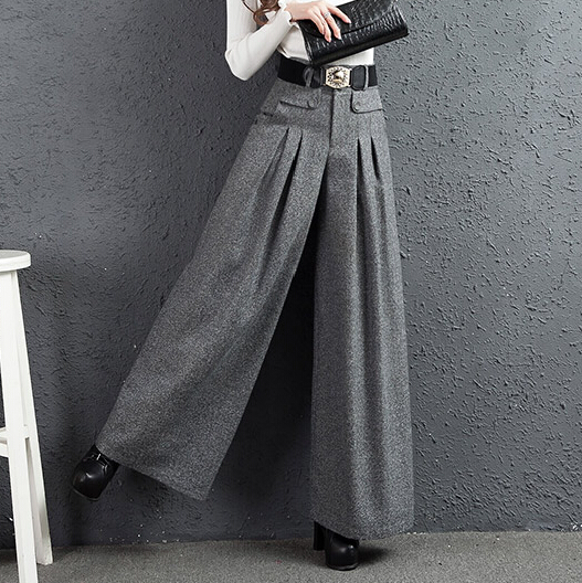 Palazzo   Pants   Autumn Winter New South Korea Cloth   Wide  -legged Height Straight   Pants   Gray Women Wool   Leg     Pants