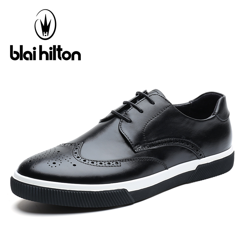 blaibilton Casual Men Shoes Brogue Classic 100 Genuine Leather Fashion font b Male b font Footwear