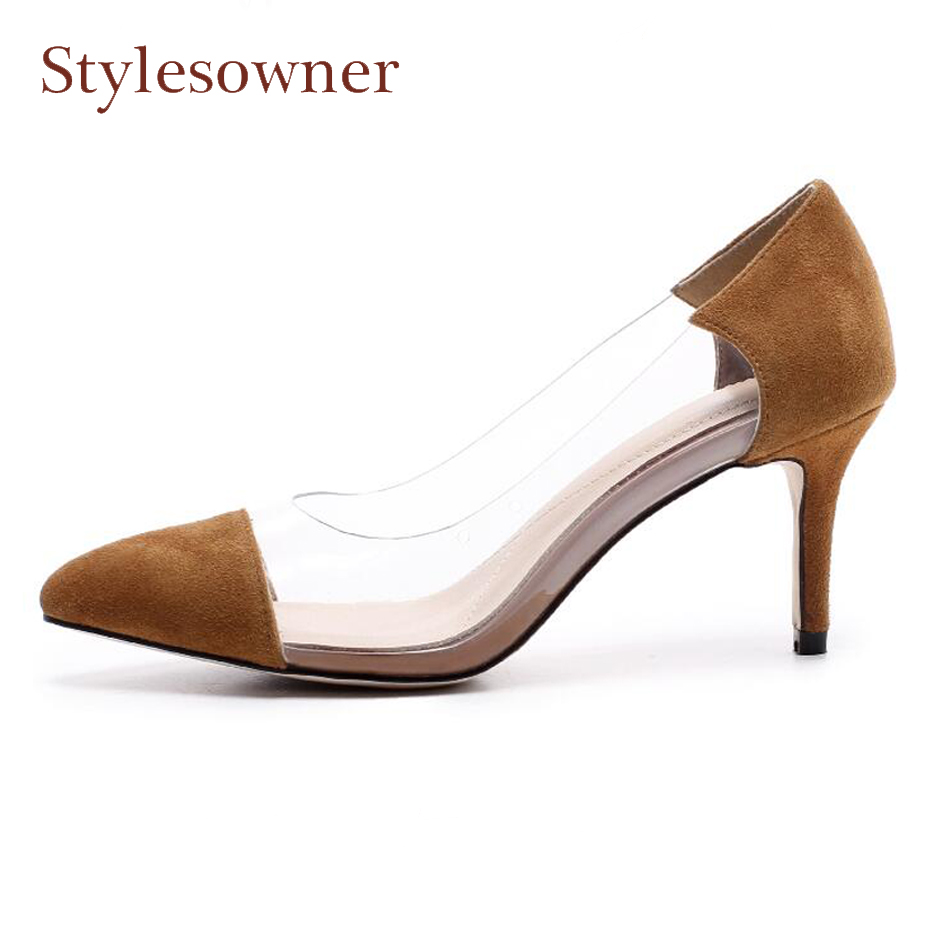 Stylesowner genuine leather mix clear pvc fashion shoe for women office lady pump spring new pointed toe shoes 7cm stiletto Heel new 2016 factory matte shoe women pointed toe red bottom low heel pump lady single ol work career spring fall shoes 678 2suede