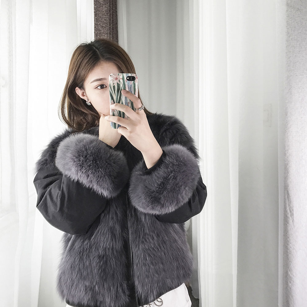 Arlenesain custom grey fox fur coat 550
