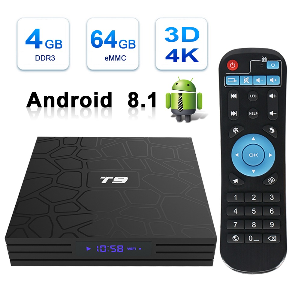 Leelbox T9 Smart TV Box Android 8.1 V BOX T9 4GB 32GB 64GB Rockchip RK3328 1080P H.265 4K PK H96 MAX décodeur
