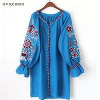 Autumn 2018 Embroidered Floral Boho Dress Loose Straight Elegant Ethnic Style Women Dresses Sashes Cotton Linen Vintage Vestidos