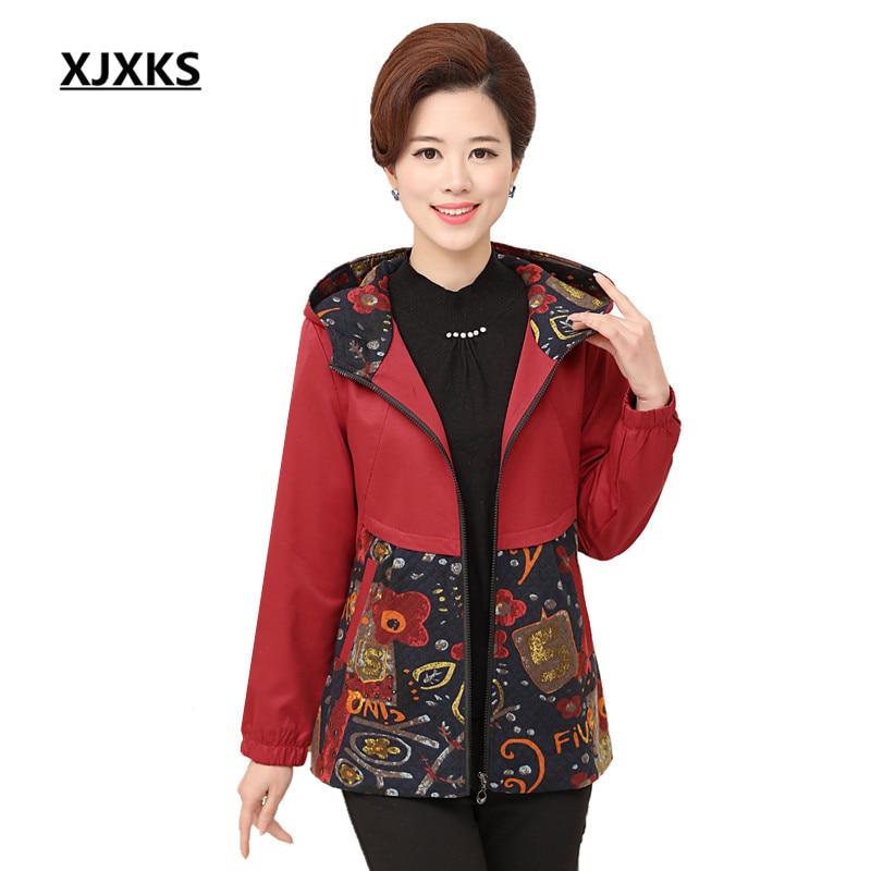 XJXKS New Autumn Women Trench Coat Elegant Hooded Outwear Slim Waist Print Patchwork Trench Outwear Causal Windbreaker 8801