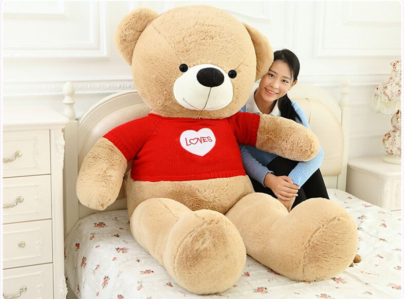 Плюшевая игрушка Огромный 180 см плюшевый медведь, одет красный свитер любовь медведь мягкая кукла подушка, CDhristmas подарок s2809
