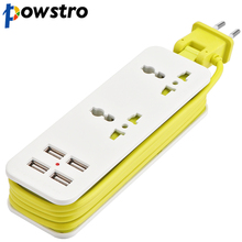 FORNORM EU Plug Extension Socket Outlet Portable Travel Power Strip Surge Protector with 4 USB 5V 2A Smart Charger Wall Charger