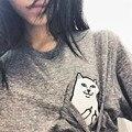 Verão T-shirt Mulheres Senhora Casual Top Tees Camiseta de Algodão Feminino marca clothing camiseta bolso impresso cat bonito top tee NVTX09