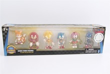 Original Sonic Action Mini Figures Play Set Knuckles, Sonic, Super Amy, Metal and Tails - 6 pcs 2 Inch